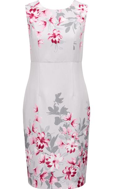 Anna Rose Border Print Fitted Dress Silver Grey/Pink - Gallery Image 3