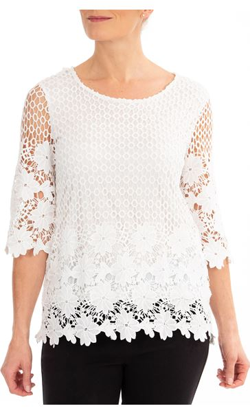 Anna Rose Three Quarter Sleeve Lace Top Ivory
