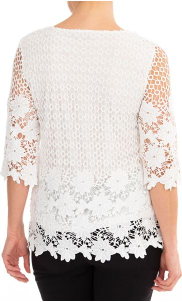 Anna Rose Three Quarter Sleeve Lace Top Ivory - Gallery Image 2
