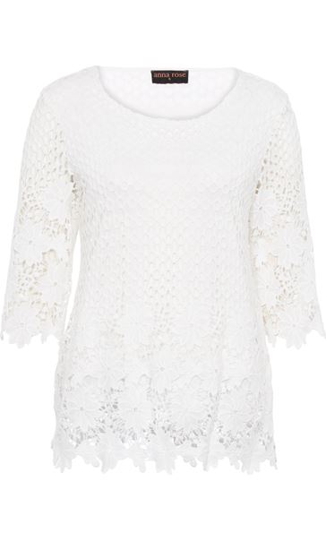 Anna Rose Three Quarter Sleeve Lace Top Ivory - Gallery Image 3