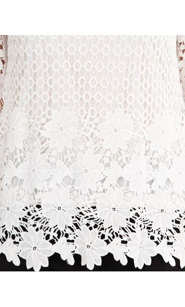 Anna Rose Three Quarter Sleeve Lace Top Ivory - Gallery Image 4