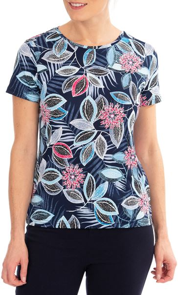 Anna Rose Short Sleeve Printed Top Blue/Pink