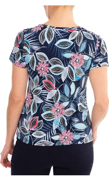 Anna Rose Short Sleeve Printed Top Blue/Pink - Gallery Image 2