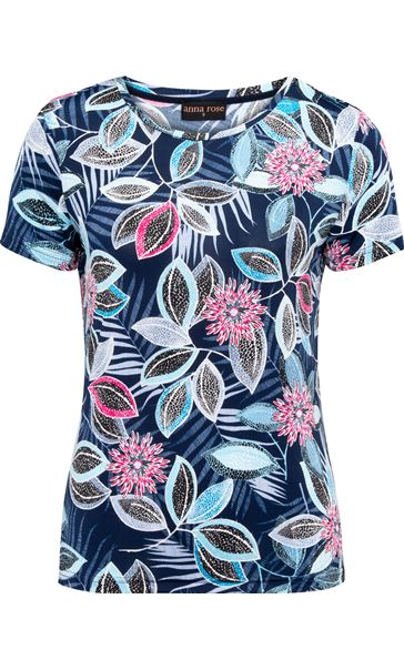 Anna Rose Short Sleeve Printed Top Blue/Pink - Gallery Image 3