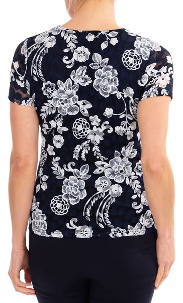 Anna Rose Lace Printed Short Sleeve Top