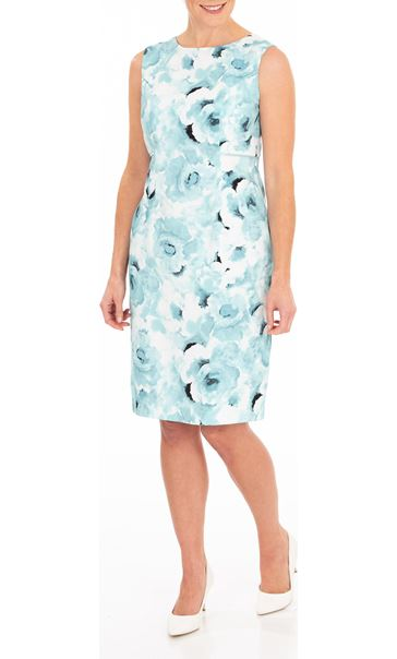 Anna Rose Sleeveless Printed Dress Aqua
