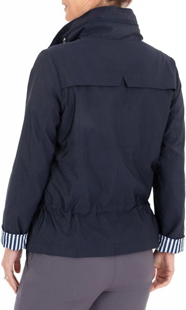Anna Rose Stripe Trim Zip Coat