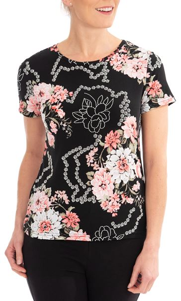 Anna Rose Floral Printed Top Black/Coral - Gallery Image 1