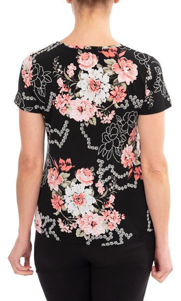 Anna Rose Floral Printed Top Black/Coral - Gallery Image 2