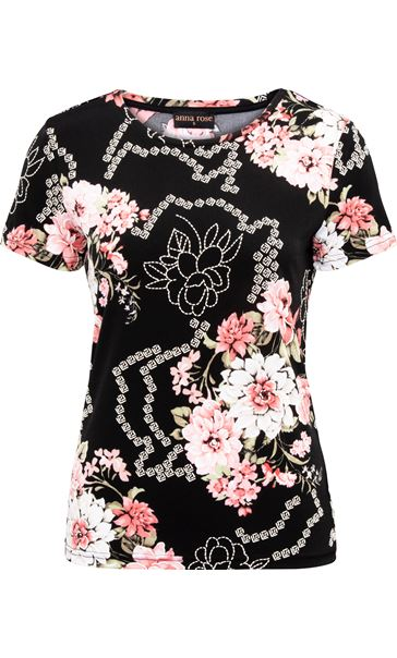 Anna Rose Floral Printed Top Black/Coral - Gallery Image 4
