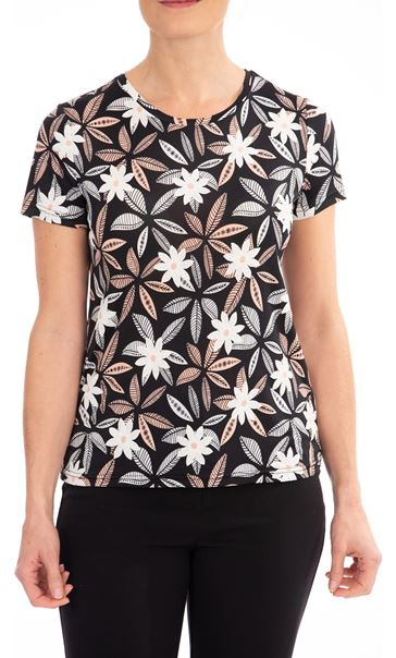 Anna Rose Flower Print Stretch top Black/Coral - Gallery Image 1