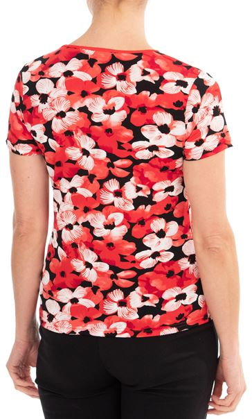 Anna Rose Floral Print Top Red/Black - Gallery Image 2