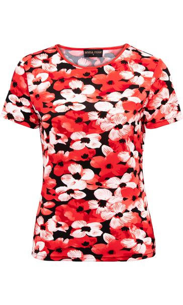 Anna Rose Floral Print Top Red/Black - Gallery Image 3