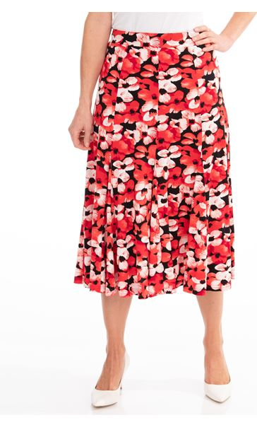 Anna Rose Floral Print Midi Skirt Red/Black - Gallery Image 1