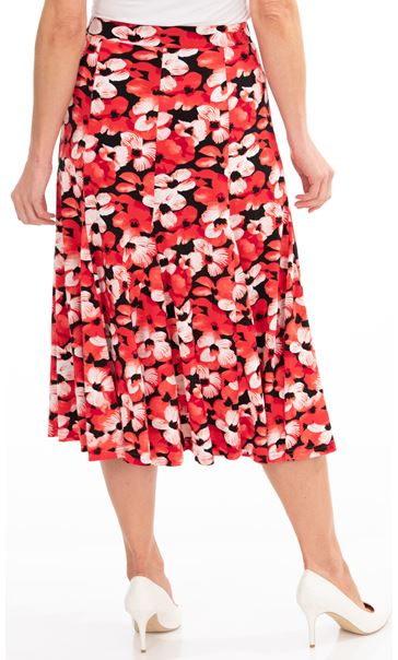 Anna Rose Floral Print Midi Skirt Red/Black - Gallery Image 2