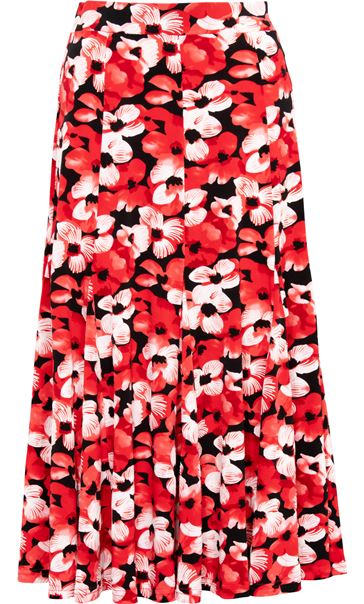 Anna Rose Floral Print Midi Skirt Red/Black - Gallery Image 3