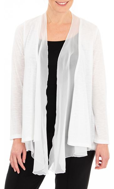 Anna Rose Chiffon Trim Knitted Cover Up Ivory