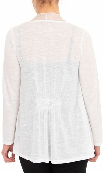 Anna Rose Chiffon Trim Knitted Cover Up Ivory - Gallery Image 2