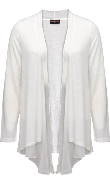 Anna Rose Chiffon Trim Knitted Cover Up Ivory - Gallery Image 3