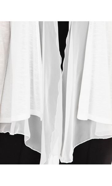 Anna Rose Chiffon Trim Knitted Cover Up Ivory - Gallery Image 4