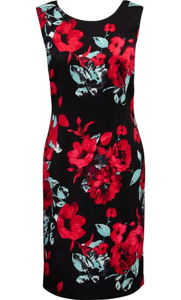 Anna Rose Floral Fitted Sleeveless Dress Red/Black - Gallery Image 3