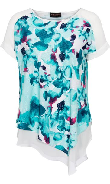 Anna Rose Printed Layer Asymmetric Top Ivory/Aqua - Gallery Image 3
