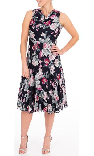 Anna Rose Floral Print Midi Dress Midnight/Multi