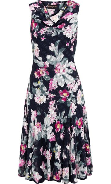 Anna Rose Floral Print Midi Dress Midnight/Multi - Gallery Image 3