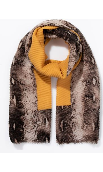 Snake Print Edged Pleated Scarf Khaki/Yellow