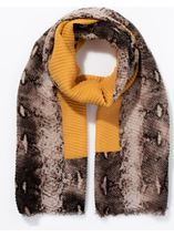 Snake Print Edged Pleated Scarf