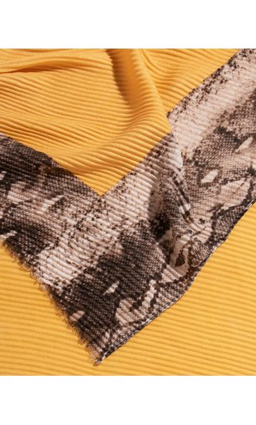 Snake Print Edged Pleated Scarf Khaki/Yellow - Gallery Image 2