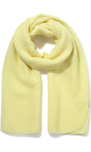 Lightweight Pleated Scarf - Yellow