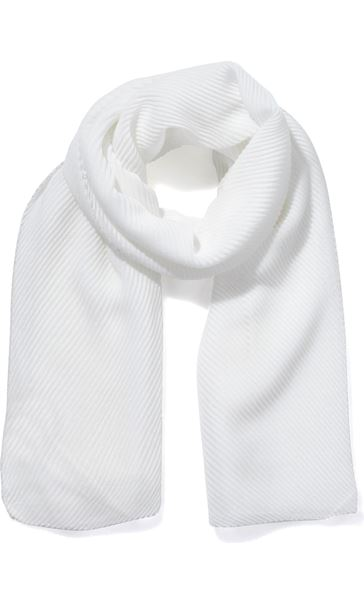 Lightweight Pleated Scarf - Ivory
