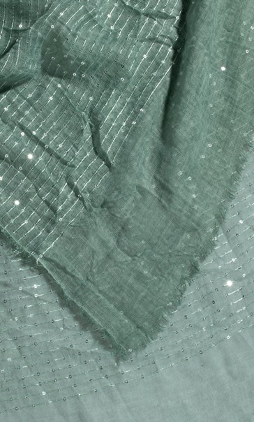 Embroidered Stripe And Sequin Scarf - Green