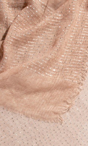 Embroidered Stripe And Sequin Scarf Peach - Gallery Image 2
