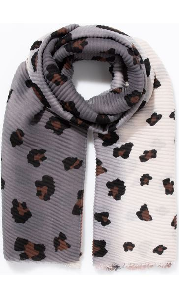 Animal Printed Pleated Scarf Pink/Grey