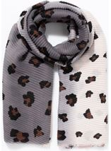 Animal Printed Pleated Scarf