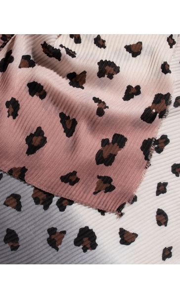 Animal Printed Pleated Scarf Pink/Grey - Gallery Image 2