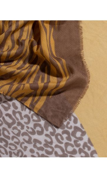 Animal Panel Print Scarf - Grey/Mustard