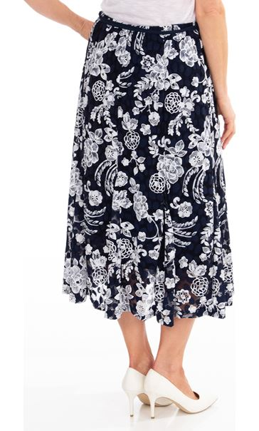 Anna Rose Printed Lace Midi Skirt