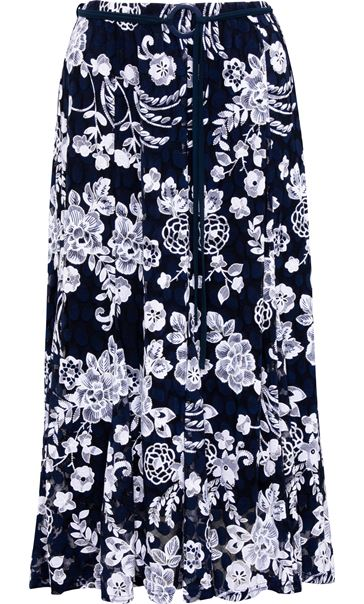 Anna Rose Printed Lace Midi Skirt Midnight/Ivory - Gallery Image 3