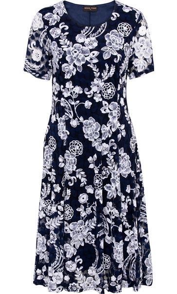 Anna Rose Printed Lace Dress Midnight/Ivory - Gallery Image 3