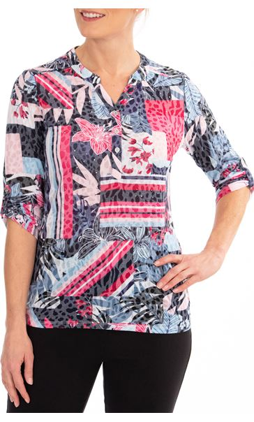 Anna Rose Embellished printed Top Navy/Pink Multi