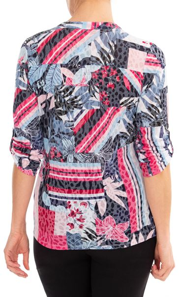 Anna Rose Embellished printed Top Navy/Pink Multi - Gallery Image 2