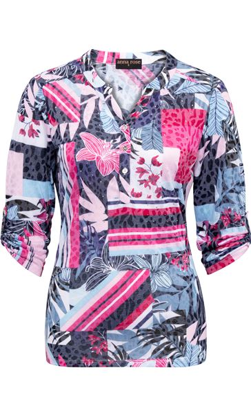 Anna Rose Embellished printed Top Navy/Pink Multi - Gallery Image 3