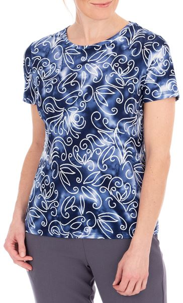 Anna Rose Textured Short Sleeve Top Blue/White