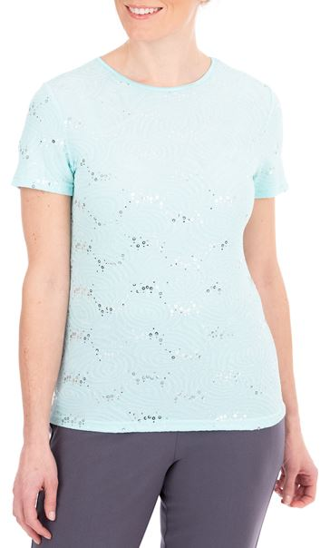 Anna Rose Short Sleeve Textured Top Blue - Gallery Image 1