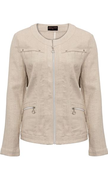 Anna Rose Zip Jacket Natural - Gallery Image 3