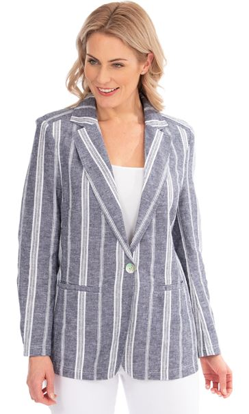 Striped Linen Blend Jacket Blue/White