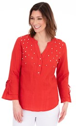 Faux Pearl Embellished Cotton Top